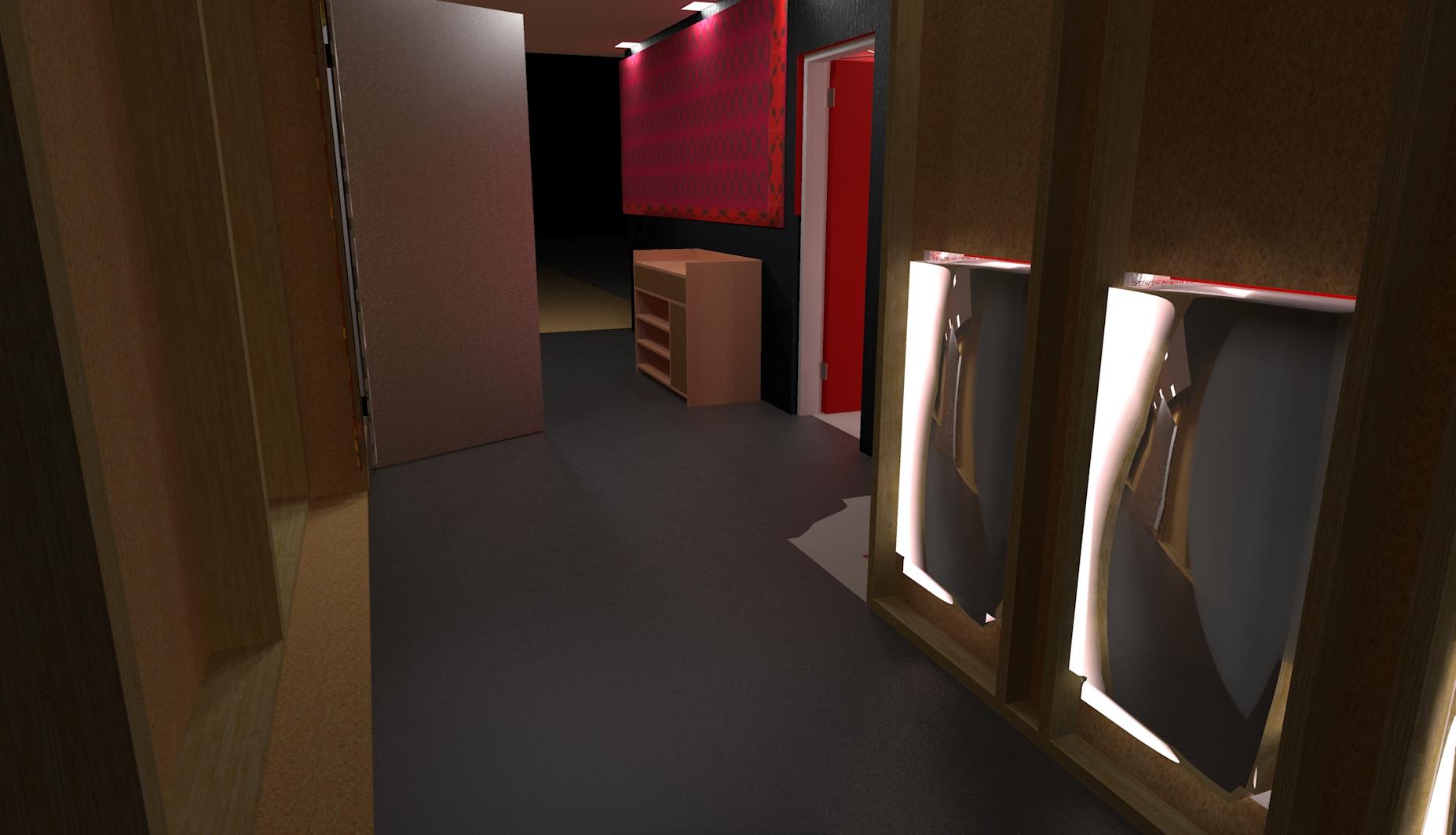 corridor of the red bathroom