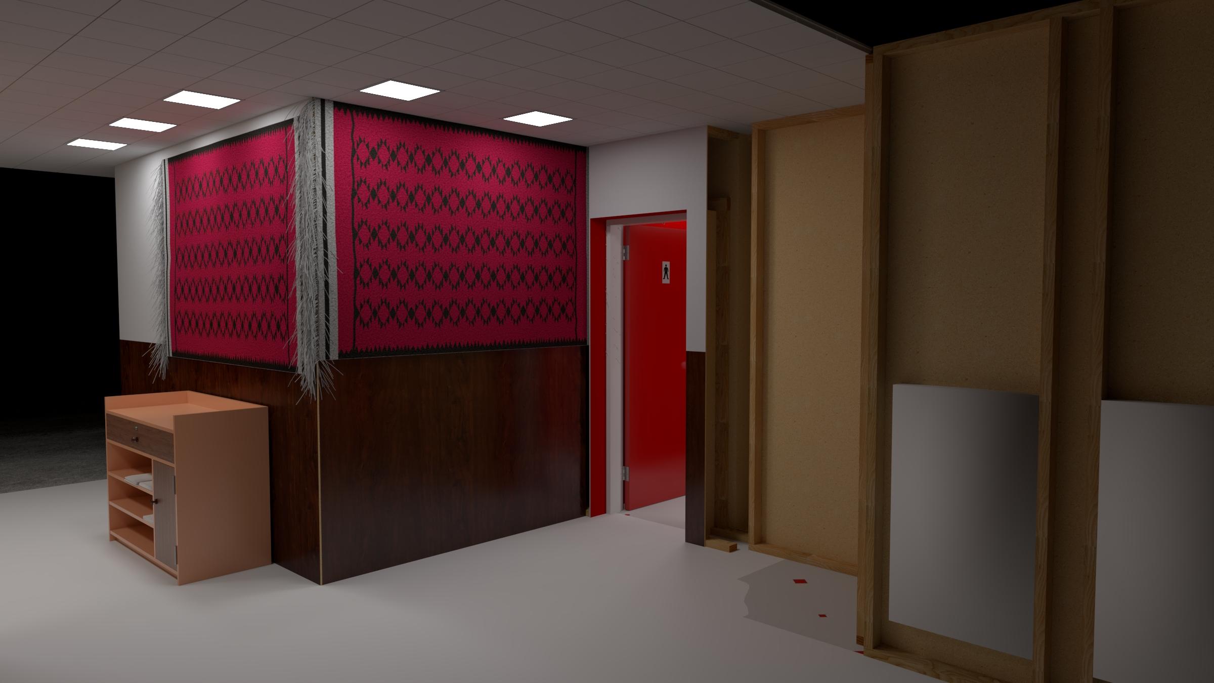 alternative corridor of the red bathroom