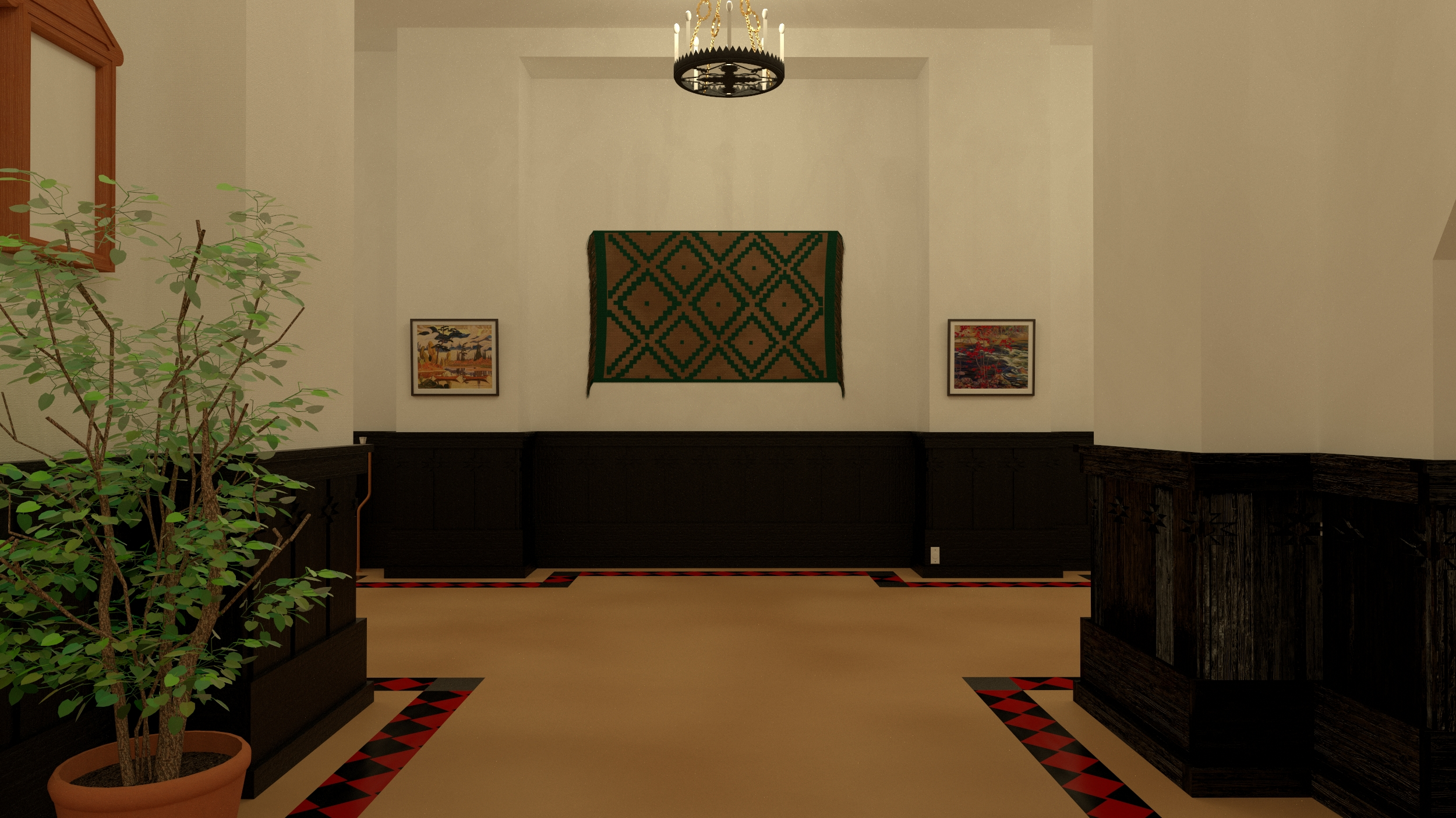 The green wall rug